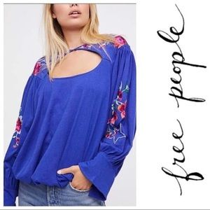 NWT Free People Embroidered Lita Top